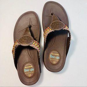 Sketchers Brown Tone Ups Flip Flop Sandals 10